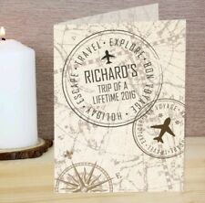Personalised TRAVELLING CARD Bon Voyage Miss You Goodbye Leaving Retirement