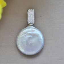 Freshwater Pearl Pendant Cz Z10002 22mm Gray Coin