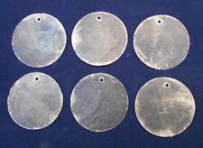 "100 Capiz Shells White Round 1 1/2"" (38mm) One Hole Crafts Windchimes Shellcraft"