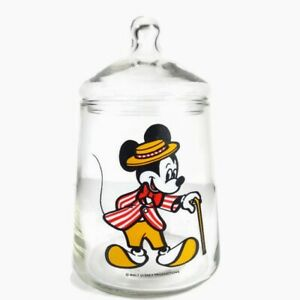 Mickey Mouse Cookie Jar With Lid Circus Outfit Walt Disney Vintage Glass Mickey