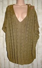 MASSIMO DUTTI: CABLE KNIT SLEEVELESS V-NECK TUNC JUMPER WITH BUCKLES - SIZE 22
