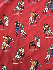 The Company Store Kids Sports Twin Duvet Cover Red Football Basketball Baseball