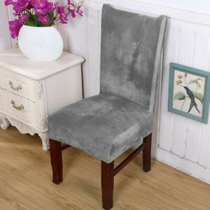 Chair Cover Solid Color Plush Fabric Velvet Thick Seat For Dinning Room Wedding