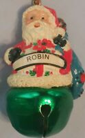 "Robin Personalized Christmas Tree Name Ornament Santa Green Bell 2.5"" Robin Gift"