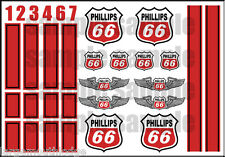 1:64 SCALE HOT WHEELS RACING STRIPES PHILLIPS 66 RED RACING WATERSLIDE DECALS