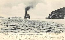 U.S.S. MAPOURIKA SHIP NEGOTIATING THE FRENCH PASS NEW ZEALAND POSTCARD (c. 1907)