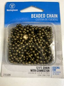Westinghouse 7710900 - 12' Antique Brass Beaded Chain with Connector