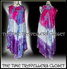 Hippie Boho 60s 70s Rosa Púrpura Tie Dye Festival Dress de Reino Unido 8 10 12 14 16 18 Gratis