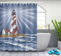Waterproof Fabric Bathroom Set Seaside Lighthouse Shower Curtain Liner Hooks
