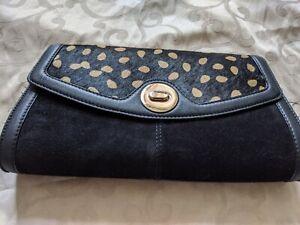 Fabulous Suede animal hair Leather Clutch Bag Polkadot rockabilly stylish Rare