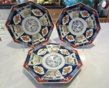 "3 Japanese Export IMARI 8-Side Rabbit PLATES 9"" H'Paint BlueUnderglaze Porcelain"