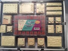 MessageStor 79 pc Stamp, Ink Pad & Marker Set in Case - Occasions Wood Mounted