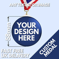 58mm Custom Plastic Medal Bespoke Personalised Sports Medals  Party Work Charity