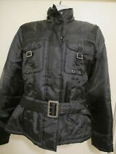 Yo Ki Collection Light Puffer Coat/Jacket,Zipper,Black, Pockets Belt,Xs,Small,4-6