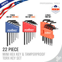 22 Piece Mini L-Key Short Hex Allen Wrench Torx Metric SAE 3 in 1 Tamper-proof