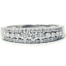 0.33 Tcw Round Cut Diamond 14 k White gold Anniversary Ring Stackable Band