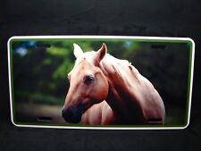 HORSE  METAL NOVELTY LICENSE PLATE TAG FOR CARS BEIGE HORSE
