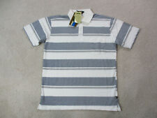 NEW Jeep Polo Shirt Adult Extra Large White Blue Striped Wrangler Patriot Mens