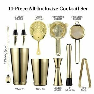 11Piece Cocktail Shakers Bar Sets Stainless Steel Bartender Tool Wine Mixer Kits