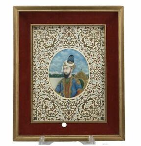 Mughal Humayun 24k Gold Embellished Gouache Framed Portrait Print on Paper