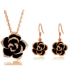 18k Gold Plated Crystal Costume Jewelry Sets Black Rose Flower Necklace Earring