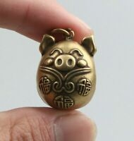 27MM China Fengshui Bronze 12 Zodiac Animal Pig Small Bell Amulet Pendant Statue