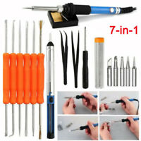 Hot 7in1 60W 110V Electric Soldering Iron Tools Kit Stand Desoldering Pump Set