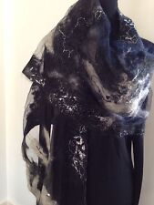 LENTZ LENZ Hand Made Felted Wool Art to Wear Mohair Abstract Shawl NWT