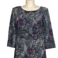 Coldwater Creek Womens 20 Dress Gray Purple Black Floral Long Midi Ruched 3/4 Sl