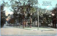 1913 WILLIAMSPORT Park Hotel Pennsylvania Railroad Train Station PA Postcard CO
