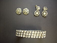 2 Pairs Vintage Diamante Clip On Earrings with Expanding Diamante Bracelet