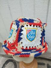 Original Vintage 70' Old Style Beer Can Hat Knit Handmade red white blue