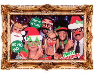 Christmas Photobooth Props Selfie Frame Festive Booth Xmas Box Party 24 card