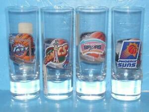 Lot of 4 NBA Basketball Shot Glasses Spurs Suns Jazz Sonics