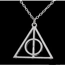 Harry Potter and Deathly Hallows Pendant Necklace Silver Pendant Chain