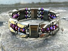 Men's Women Magnetic Hematite Bracelet Anklet with Metalic Purple Crystals 3 row