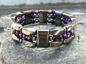 Men Women Magnetic Hematite Bracelet Anklet Necklace Metallic Purple Crystal 3rw