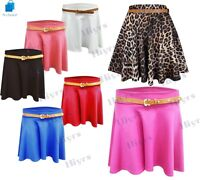 Womens Ladies Belted Skater Skirt Flared Jersey Plain Mini Party Dress lot 8-14