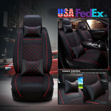 2PCS Deluxe PU leather Seat Cover Cushion + 4* Pillow Car SUV Universal US Ship