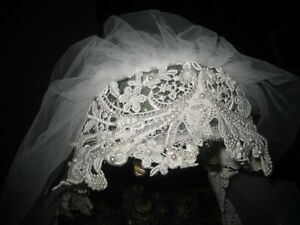 Vintage Juliet Cap Pearls & Lace Two Layer Tulle Veil Edged White Lace GORGEOUS