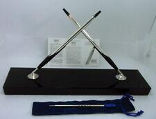 SALE! Cross Jet Black Crystal Desk Set Sterling Silver BP+Pencil USA Excellent