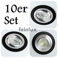 10er Set Alu LED GU10 5W Einbauleuchten Einbaustrahler Schwarz Downlight 230V