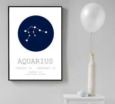 Zodiac Star Sign Wall Art Print Home Decor Blue Astrology Signs Poster Design