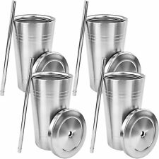 Stainless Steel Double Walled Insulated Cup W Straw Lid 20oz Tumbler No Spill x4