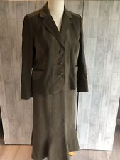 FSR Collection Ladies Green Cord Skirt Suit With Pockets Uk14 NWOT