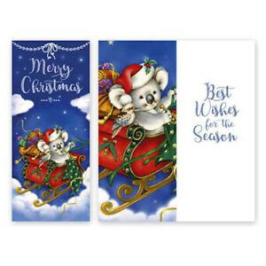 KOALA SLEIGH CHRISTMAS CARD - SLIMLINE DESIGN