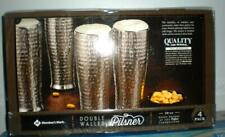 PILSNER DOUBLE WALLED SILVER FINISHED HAMMERED 20 OZ. GLASSES BEVERAGE COOLED