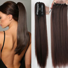 Straight Virgin Human Hair Ponytails Hairpiece Claw Clip Ponytail Hair Extension