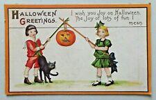 HALLOWEEN GREETINGS JOL on Sticks Black Cat Stecher Embossed Postcard 5421