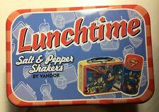 DC Comics Lunchtime SUPERMAN Vandor ceramic Salt and Pepper shakers w/Tin.